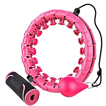 Weighted Hula Smart Hoops with Waist Trimmer Hoola Fitness Hoops for Adults Weight Loss 24 Detachable Knots  pink