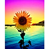 DIY 5D Diamond Painting Kits for Adults & Kids, Colorful Sunflower Painting Cross Stitch Full Drill Crystal Rhinestone Embroidery Pictures Arts Craft for Home Wall Decor (12x16 inch)