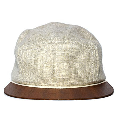 Beach hat beige with unique wooden brim - Made in Germany - Fashion cap - Lightweight & comfortable - Unisex - One size fits all Snapback | Lou-i 5 Panel Cap