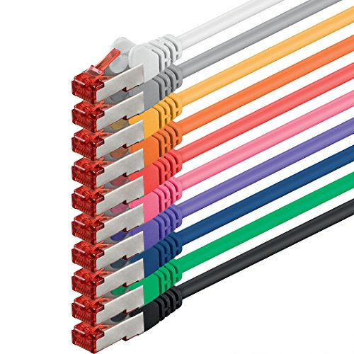 1aTTack.de 88272-10m - CAT6 Netzwerkkabel CAT.6 Patchkabel (PoE) Ethernetkabel SFTP PIMF 1000 Mbit/s - 10 Stück - 10-Farben