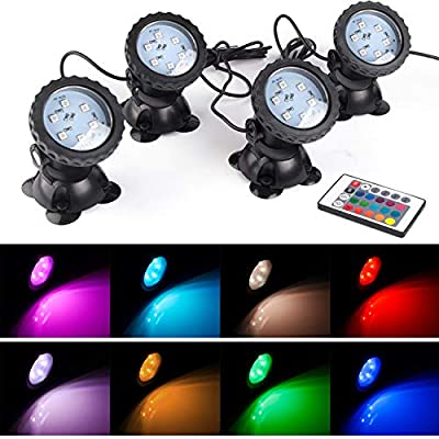 Pond Lights Waterproof IP 68 Multi-Color & Adjustable & Dimmable Submersible Spotlight with LED Color Changing Spot Light for Aquarium Tank Garden Pool Fountain Waterfall (Set of 4) (Remote Control)