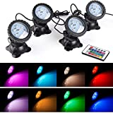 Pond Lights Waterproof IP 68 Multi-Color & Adjustable & Dimmable Submersible Spotlight wit...