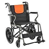 Wheelchair Silla de Ruedas Manual Liviana, Silla de Ruedas de tránsito Plegable, Carrito de aleación de Aluminio pequeño y portátil para Personas discapacitadas y Ancianos