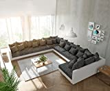DELIFE Couch Clovis modular - Ecksofa, Sofa, Wohnlandschaft & Modulsofa (Schwarz/Weiss, Sofa XXL Links)