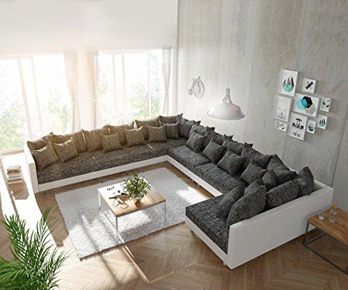 DELIFE Couch Clovis XXL Weiss Schwarz Ottomane Links Wohnlandschaft