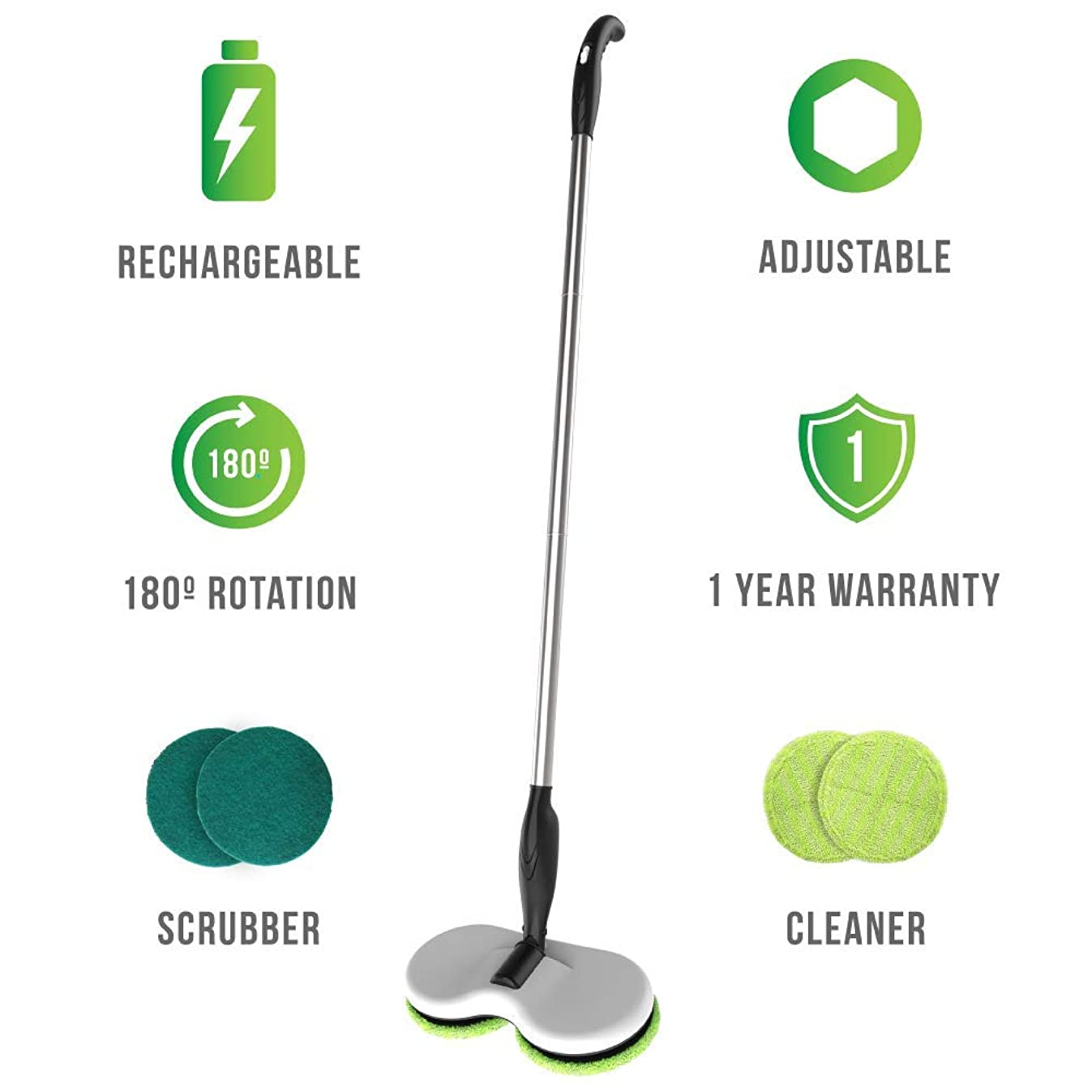 Gladwell Cordless Rechargeable Electric Mop - Floor Cleaner + Scrubber Dual Head Spin Rotating Design 3-in-1 Extendable Handle For Wood Tile Marble Stone Vinyl and Laminated Flooring + 1 Year warranty