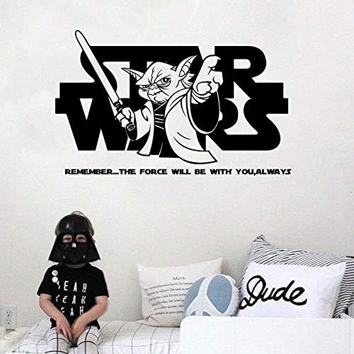 Kreative Hollywood Sci-Fic Film Charakter Cartoon Alien Yoda halten Licht Schwert Zitate Aufkleber Vinyl Wandaufkleber Junge Kinderzimmer Schlafzimmer Hauptdekoration