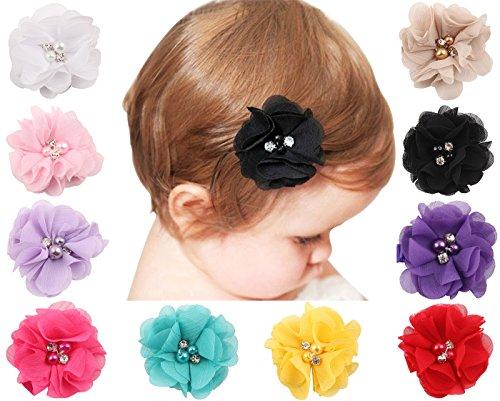 Txian, set di 10 fermagli per capelli in chiffon, a forma di fiore, con strass e perle, per bambina