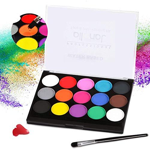 Janolia Pintura Facial, Pintura Corporal con 15 Diversas Colores, Maquillaje para Cuerpo...