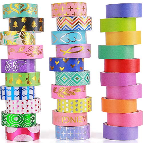 30 Rolls Washi Tape Set 15mm Include 20 Gold Foil Masking Tapes 10 Rolls Colorful Rainbow Tapes for ScrapbookingBullet JournalsDIY Art Craft and Gift Wrapping