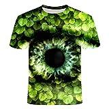 FANGDADAN 3D T-Shirt,Novedad De Verano Novedad Crewneck Camiseta Personalidad Abstracta Ojos Graphic Casual Creativa Camisa De Manga Corta para Hombres Y Mujeres Plus Tamaño tee Top, Verde, Grande