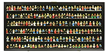DisplayGifts Toy Minifigures Miniatures Solid Wood Display Case Frame Wall Cabinet Stand 200 Toys Dust Protection Black