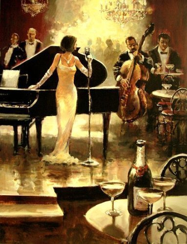 Fertig-Bild - Brent Heighton: Jazz night out 60x80 cm Sängerin Jazz Klavier Cello Musik Musiker mondän Bar Kult