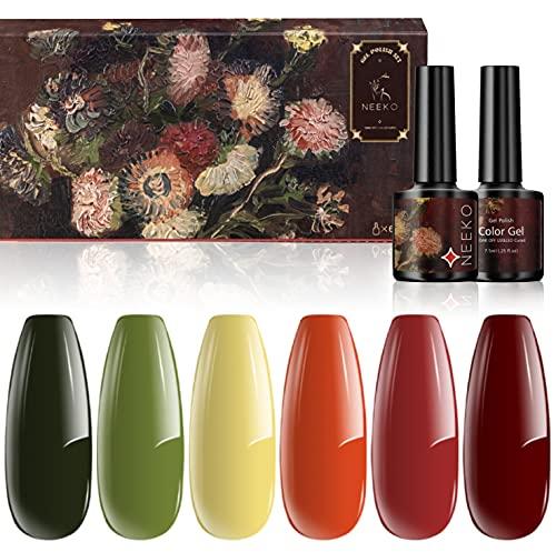 NEEKO Set di Smalti in Gel, Kit Smalto Gel per Unghie Flower Collection, Gel per unghie a 6 Colori Rosso Giallo Verde Arancione UV   LED per Salone a Casa