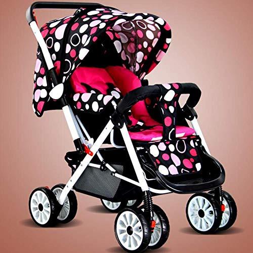 BGTRRYHY Ultraleichter tragbarer faltbarer Regenschirm kann sitzen und liegen, Zwei-Wege-Kinderwagen mit 4 Rädern,...