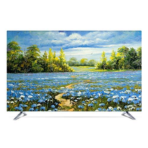 NAKAN Copertura TV Antipolvere Protezione Universale da 20 -80  per Schermi Piatti Curvi Copri Televisori Moderni per Interni con Stampa di Paesaggi in Poliestere(Color:Campo,Size:48in)