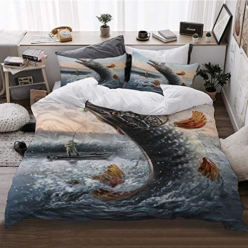 HATESAH Bedding Bettwäsche,Malen Angeln Mann und Boot Angeln Big Fish and Waves,Bettwäsche 135x200cm,Kopfkissenbezug 2(50x80cm)