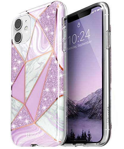 VENA Funda de Mármol para iPhone 11, Melange (Drop Proof Protection) Glitter Brillante Case Carcasa Protectora para Apple iPhone 11 (6.1'-Inch) - Púrpura
