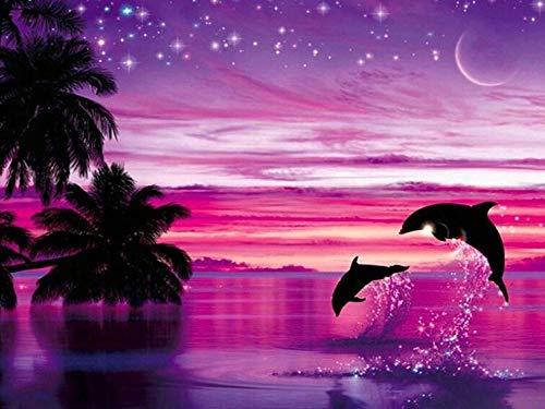 Pintura de diamante delfín bordado de diamantes redondos completos animales imágenes de diamantes de imitación mosaico punto de cruz decoración del hogar A12 30x30cm