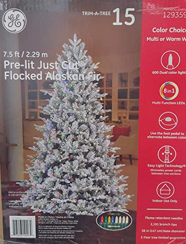 GE 7.5-ft Pre-lit Flocked Alaskan Fir Artificial Christmas Tree with 600 Color Changing LED Lights