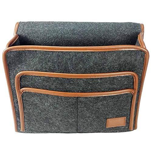 SNIIA Bedtas, opbergdoos voor het bed, U-vormige bewaardoos voor het bed met 4 kleine vakken voor afstandsbedieningen, mobiele telefoons, boeken, tablets - 33,5 x 25 x 10 cm