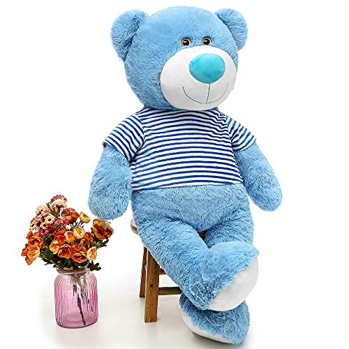 MaoGoLan Big Teddy Bear Blue Cute Soft Giant Teddy Bear Stuffed Animals Plush 35' for Girls Girlfriend,Blue