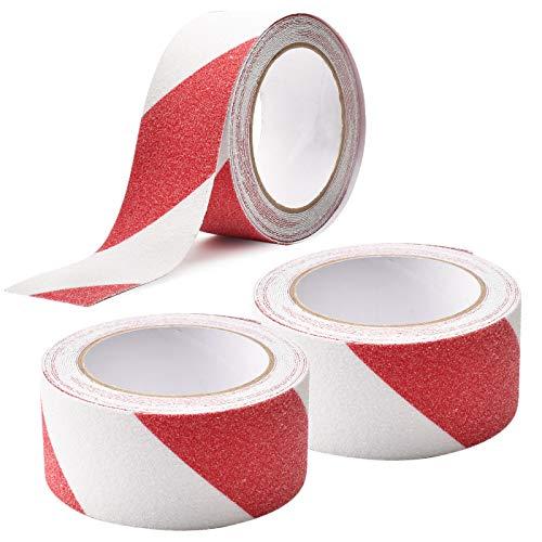 LUCKYBEE 滑り止めテープ 5cm*5m 3巻 階段 屋外 屋内 脚立 耐水性 鉱物粒子タイプ (赤と白)