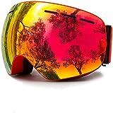 JINGMAN Gafas de esquí, Gafas para Deportes de Nieve en Invierno con protección UV antivaho para Hombres, Mujeres, jóvenes, Lentes Intercambiables, C1 Rojo Rojo