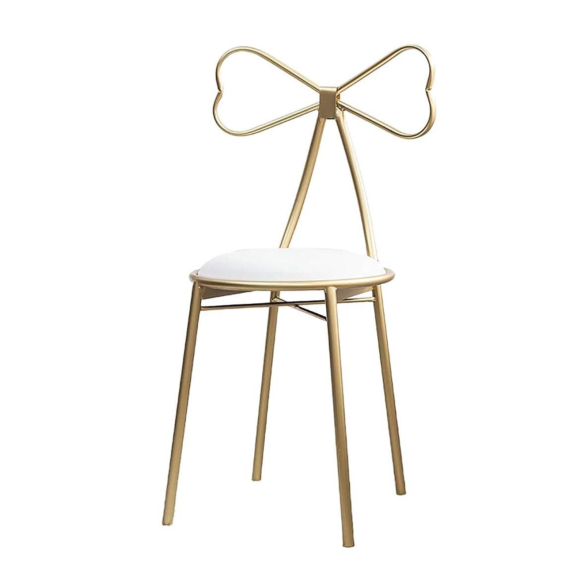 ブルジョンポルティコ発火するドレッシングテーブル化粧椅子クリエイティブPUレザーアームチェア蝶ネクタイダイニングチェアゴールデンアイアンアートドレッシングスツール装飾家具86CM,White pu leather