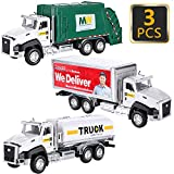 G.C 3 Pack Diecast Transport Vehicles Truck Toys Set Garbage Truck Tanker Truck Delivery Truck 1:50 Scale Pull Back Metal Model Car Toys for Boys