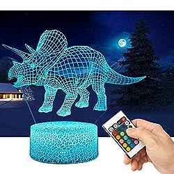 3D Dinosaurier Lampe LED Nachtlicht mit Fernbedienung, QiLiTd 16 Farben Wählbar Dimmbare Touch Schalter Nachtlampe Geburtstag Geschenk, Frohe Weihnachten Geschenke Für Mädchen Männer Frauen Kinder