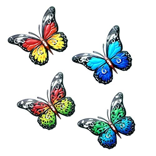 MEIYOUMK Schmetterling Wanddeko, 4 Stücke Garten Schmetterlinge Deko Metall Wanddeko, Wandskulptur Balkon Terrassen Deko Anhänger Objekt Eisen Gartendeko Tiere Garten