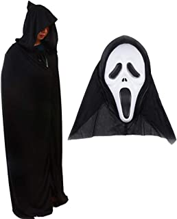 MepLife Funny Halloween Cosplay Costumes with Mask Cloak Wizard Hooded Long Cape for Adults