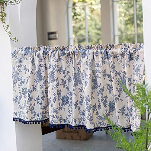 Tier Vorhänge für Küchenfenster, Badezimmerfenster Vorhang, Halbfenster Küche Cafe Vorhänge, Rod Pocket Cotton Leinen Kurzvorhang, 55