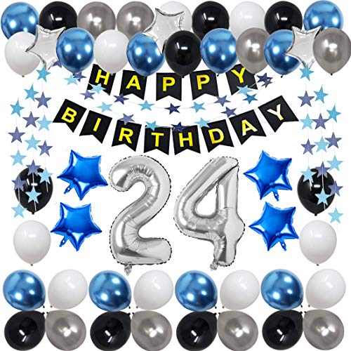 24th Birthday Decorations for Men Women Boy Girl,Blue Black Birthday Party Supplies with 24 Silver Number Balloon Happy Birthday Banner for 24th and 42nd Birthday Party