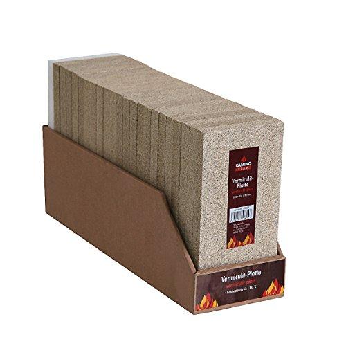 KaminoFlam Vermiculite Platte - Schamottstein Backofen - Schamotteplatten für Ofen - Schamottestein Kaminofen - Schamotte Ersatz 250 x 124 x 20 mm