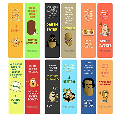Creanoso Jokes About Potato Bookmarks (60-Pack) - Great Stocking Stuffers Gifts for Men, Women, Adult, Teens, Book Reading Lovers, Bookworms
