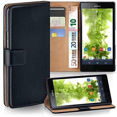 MoEx Premium Book-Case Handytasche kompatibel mit Sony Xperia Z | Handyhülle mit Kartenfach und Ständer - 360 Grad Schutz Handy Tasche, Schwarz