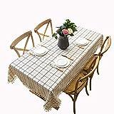 MCZ White Checkered Tassel Design Tischdecke Waschbare Tischdecke Rechteckige Küchentischabdeckungen Staubdichte Kaffeegartentischdekoration (140x160cm)
