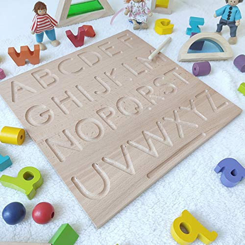 Mfumyy Montessori Alphabet Number Tracing Boards Double Sided Wooden Learn to Write ABC 123 Board Writing Practice Board for Kids Preschool Educational Toy,Homeschool Supplies (ABC+ABC Board)