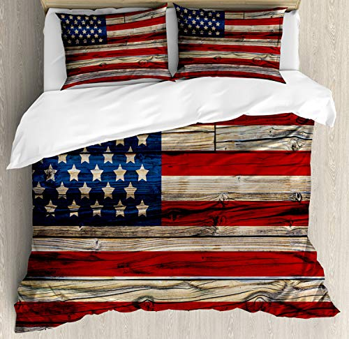Ambesonne 4th of July Duvet Cover Set, Wooden Planks Painted as United States Flag Patriotic Country Style, Decorative 3 Piece Bedding Set with 2 Pillow Shams, Queen Size, Red Beige