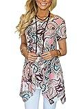 MIROL Womens Summer Short Sleeve Floral Print Irregular Hem Loose Fit Tunic Tops