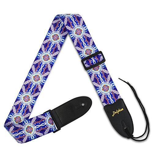 Dulphee Guitar Strap Purple Vintage Printed Adjustable Polyester Shoulder Strap - Suitable for Bass, Electric & Acoustic Guitars