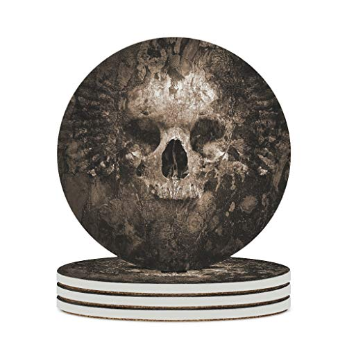 Fineiwillgo Posavasos de cerámica con diseño de calavera, resistente al calor, redondos, de cerámica con base de corcho, divertido para tazas en casa, diámetro de 9,8 cm, color blanco, 6 unidades