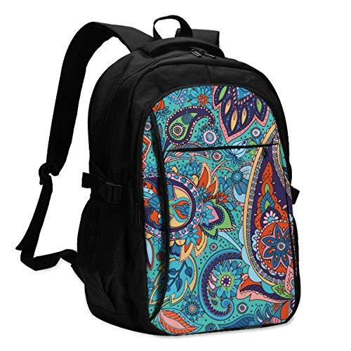 XCNGG Mochila USB con múltiples bolsillos, mochila informal, mochila escolar Laptop Backpacks Tactical Seamless Pattern Based On Traditional Asian Elements Paisley. Office & School Supplies with USB D
