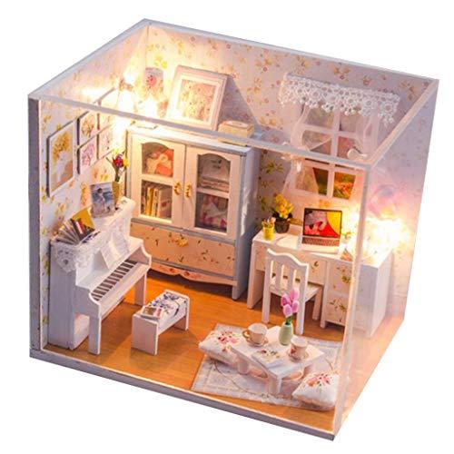 Amagogo Escala 1:24 DIY Casa de Muñecas en Miniatura Casa de Muñecas de Madera Kit Habitaciones Creativas
