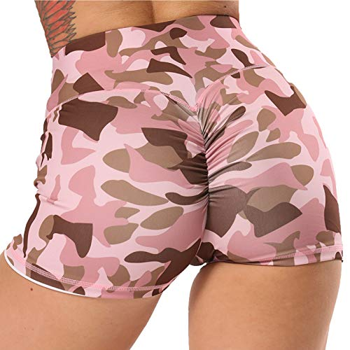STARBILD Shorts Pantalones Deportes Cortos de Fitness Mallas para Mujer Elástico de Alta Cintura para Correr Gimnasio Gym #4 Pattern Classic-Camuflaje Rosa L