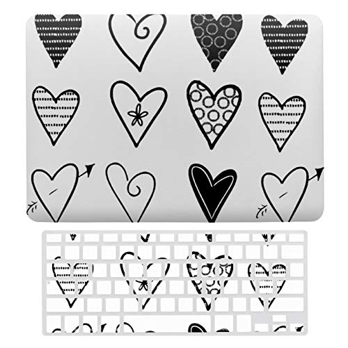 For MacBook New Pro 13 Touch Case A1706、A1989、 A2159, Plastic Hard Shell & Keyboard Cover Compatible with MacBook New Pro 13 Touch, White And Black Hearts Laptop Protective Shell Set