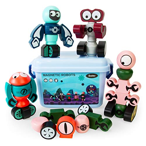 Boley Magnetic Robot Set - 35 Piece Magnets for Kids with Storage Box - Educational Magnet Stacking Building STEM Toys for Boys and Girls