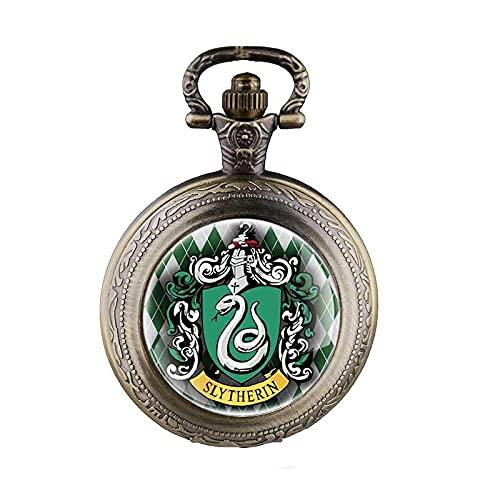 brujería Slytherin Escuela Serpiente Colgante Collar Domo Cuarzo Reloj de Bolsillo Hombres Mujeres niños Regalo